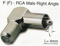 RFA-8792R F Female (Jack) to RCA Male (Plug) Right Angle
