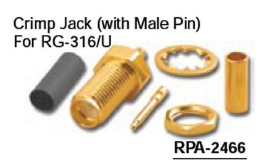 RPA-2466 Reverse Polarity SMA Crimp Female (Jack) Connector With Male Pin For RG-316/U (10 Pack)