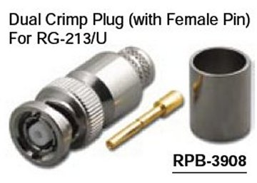 RPB-3908 Reverse Polarity BNC Dual Crimp Male (Plug) Connector With Female Pin For RG-213/U (10 Pack)