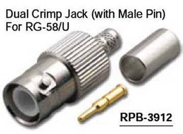 RPB-3912 Reverse Polarity BNC Dual Crimp Female (Jack) Connector With Male Pin For RG-58/U (10 Pack)