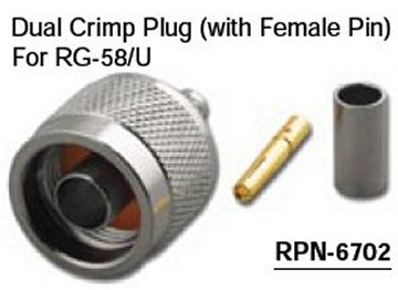 RPN-6702 Reverse Polarity N Dual Crimp Male (Plug) Connector With Female Pin For RG-58/U (10 Pack)