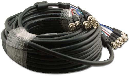 S-2X5BNC-50 5 BNC Male (Plug) To 5 BNC Male (Plug) 75 Ohm RGB Video Cable. 50 Ft.