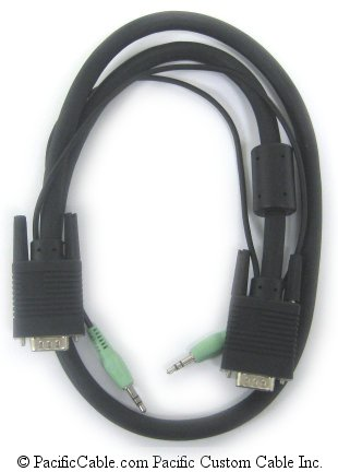 S-H15MM35-6XL 6 Ft. VGA Cable HD15 Male to HD15 Male with Stereo Audio 3.5 Plug to 3.5 Plug