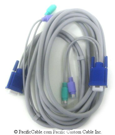 S-VKMC-VMF-12 VGA HD15 Male & 2 PS2 MD6 Males to VGA HD15 Female & 2 MD6 Males. 12 Ft.