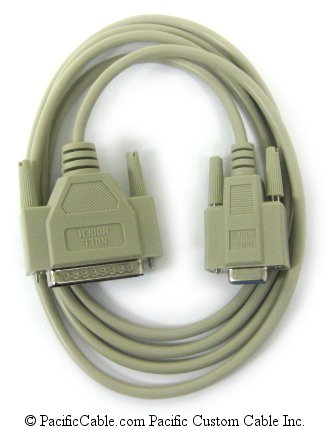 SA3-6 6 FT. D9 Female To D25 Male Null Modem. This cable will work with most HP Serial Laser Printers. DTE Host to DCE Peripheral.
