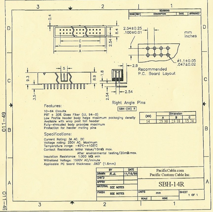 SBH-14R_Drawing PCB 14 Pin Male Right Angle Boxed Header .1x.1 50 Pack