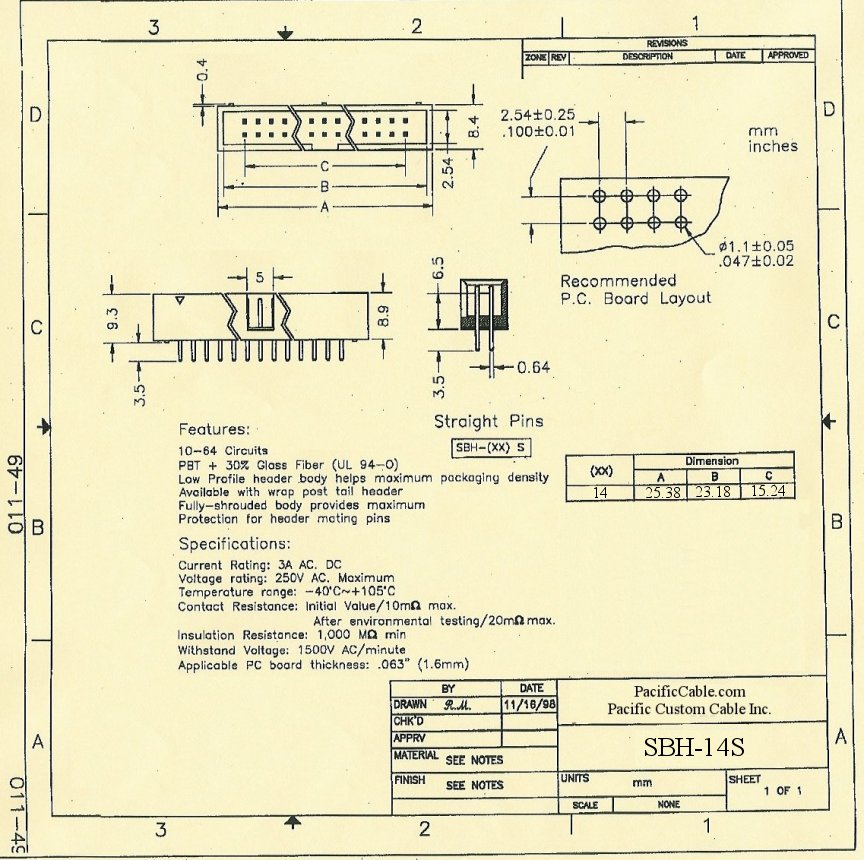 SBH-14S_Drawing PCB 14 Pin Male Straight Boxed Header .1x.1 50 Pack