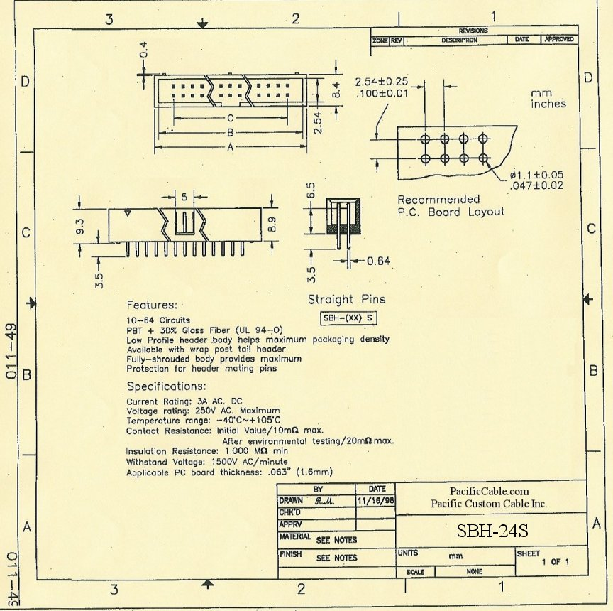 SBH-24S_Drawing PCB 24 Pin Male Straight Boxed Header .1x.1 50 Pack