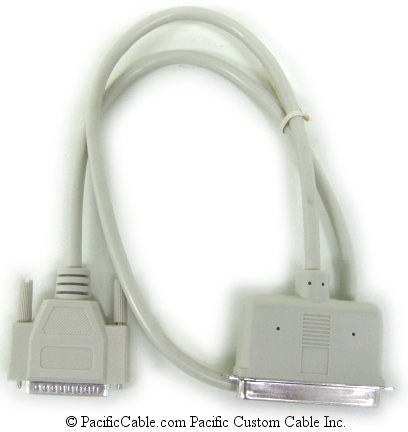 SC3-3 3 FT. SCSI System, D25 Male To Centronic 50 Male, Apple Systems