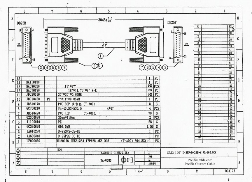 SM2-15T-Drawing 15 FT. D25 Male To D25 Female IEEE1284
