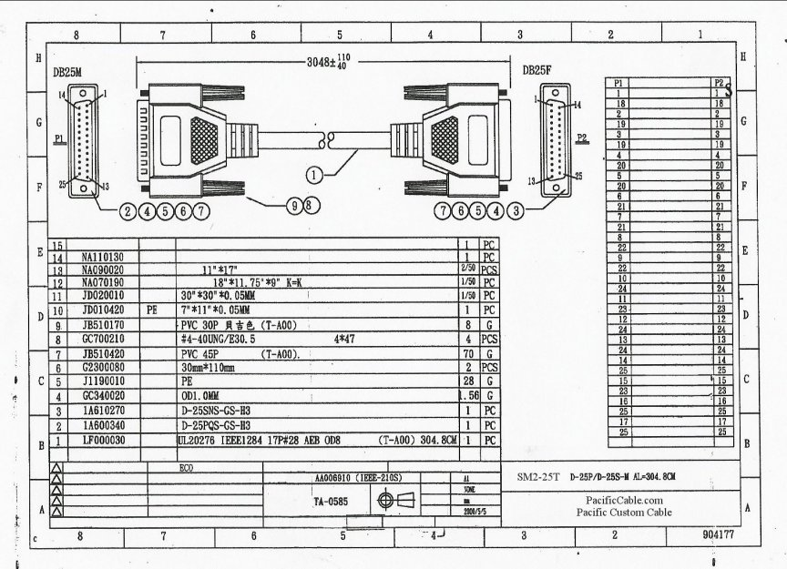 SM2-25T-Drawing 25 FT. D25 Male TO D25 Female IEEE1284