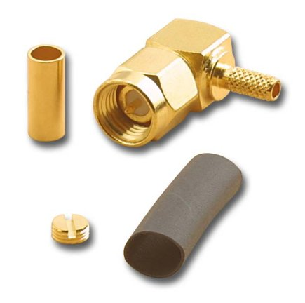 SMA-2507 SMA Gold Plated Right Angle Crimp Male (Plug) With Captive Contact For RH316/U And RG174/U (10 Pack)