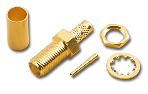 SMA-2705 SMA Gold Plated Bulkhead Crimp Female (Jack) For RG58/U And RG141/U And RG143 (10 Pack)