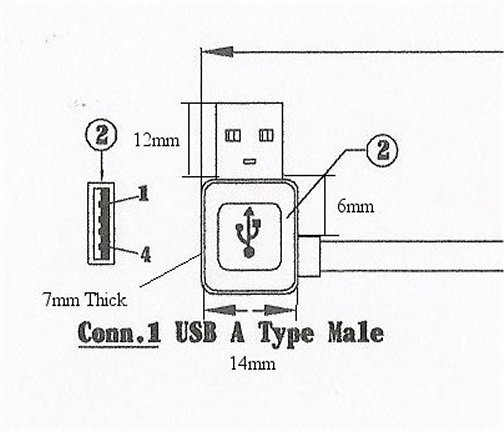 USBAMRAF-3IN_4 USB A Male Right Angle to USB A Female 3 Inch Adapter (USB 2.0)