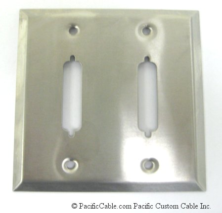 WP-25-2HD DB25 / HD44 Double Gang Wallplate 2 Holes