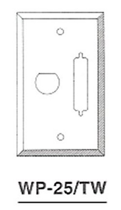 WP-25-TW DB25 / HD44, Twinax Wallplate 1 Hole
