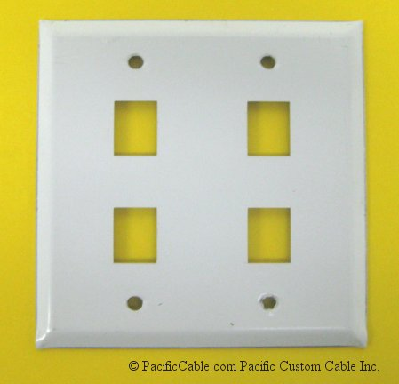 WP-M-4D Keystone Jack Double Gang Wallplate 4 Holes