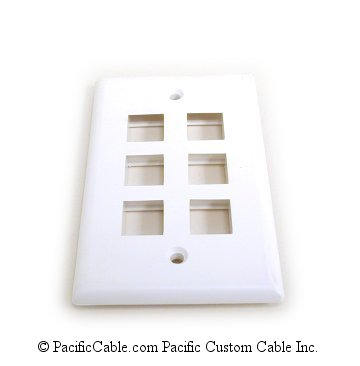 WP18 White Flush Plate, 6 Outlet