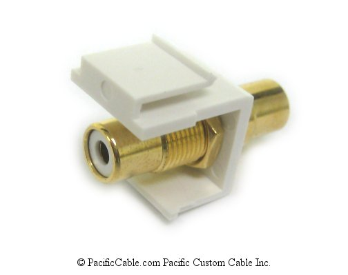 WP27 RCA White Band Female / Female Keystone - White. Use with WP16, WP17, WP18.