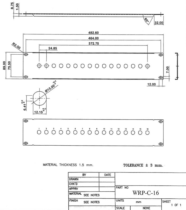 WRP-C-16_Drawing 16 Port 1/2 Inch Coax 2U Rack Mount Panel